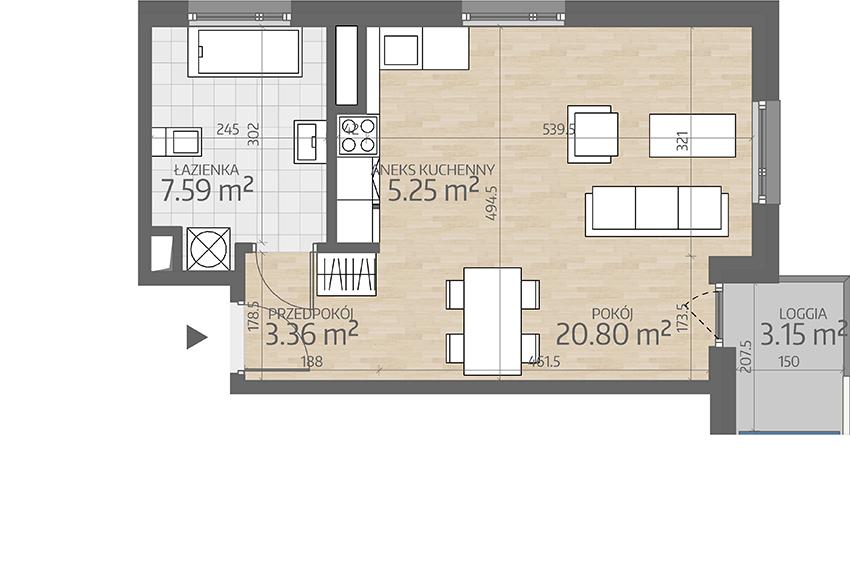 rzut mieszkania numer 25