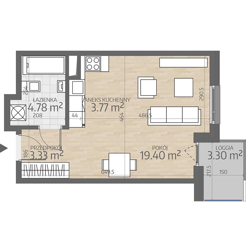 rzut mieszkania numer 28