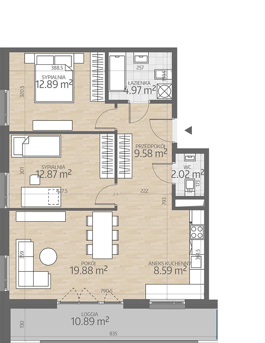 rzut mieszkania numer 32