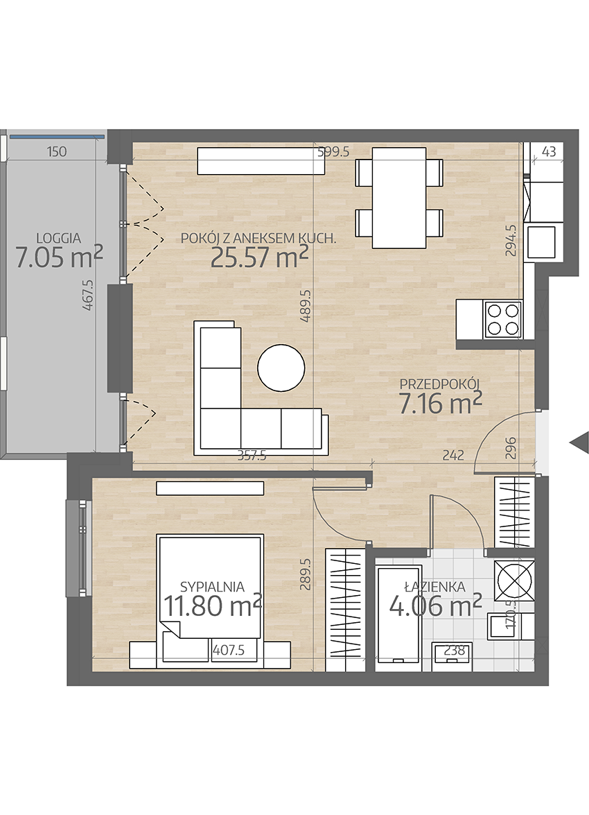 rzut mieszkania numer 34