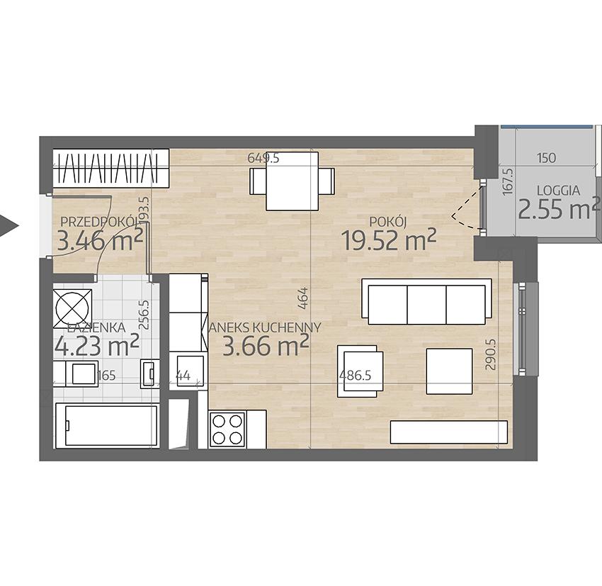 rzut mieszkania numer 38