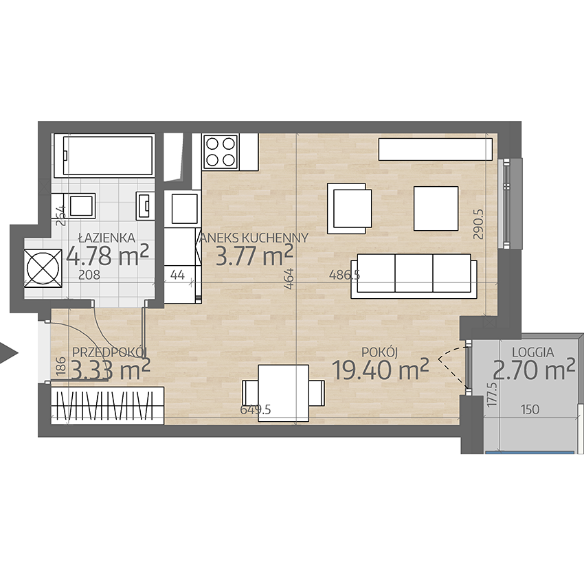 rzut mieszkania numer 39