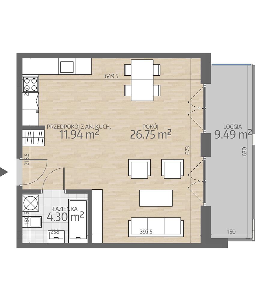 rzut mieszkania numer 40