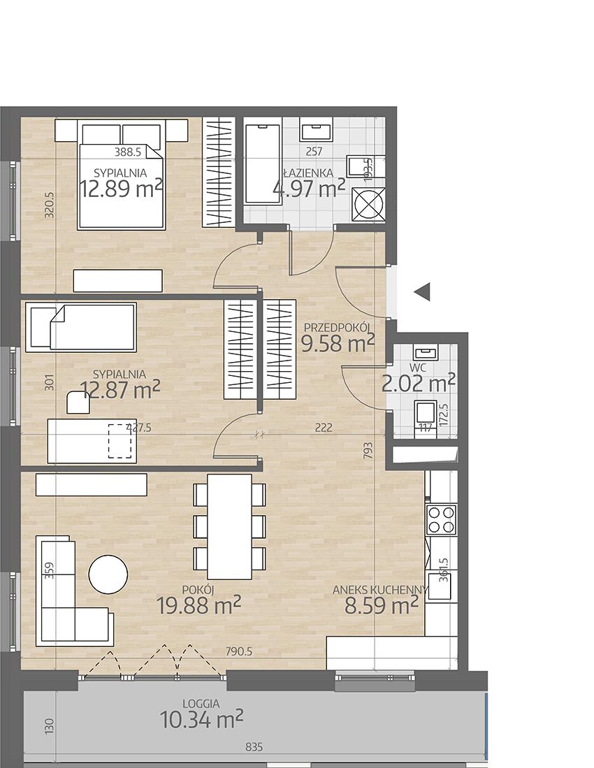 rzut mieszkania numer 43