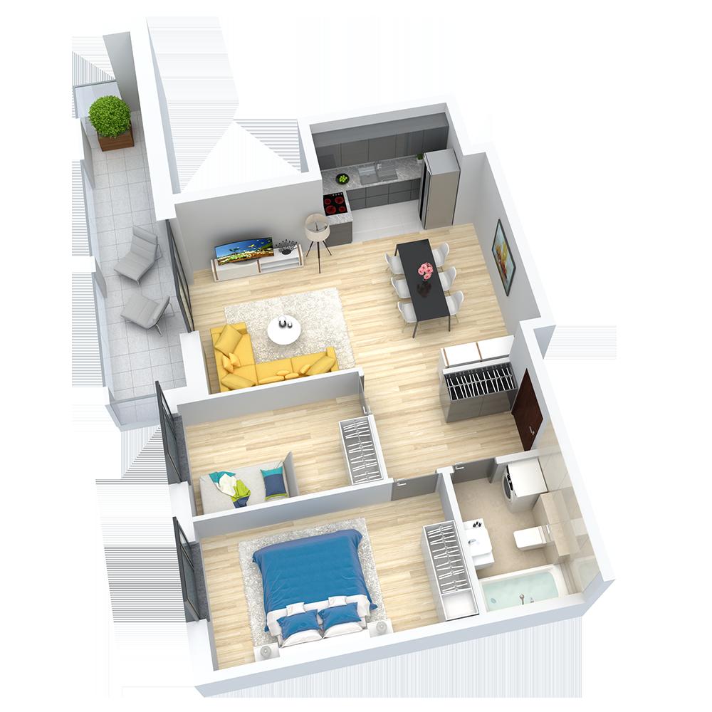 wizualizacja mieszkania numer 44
