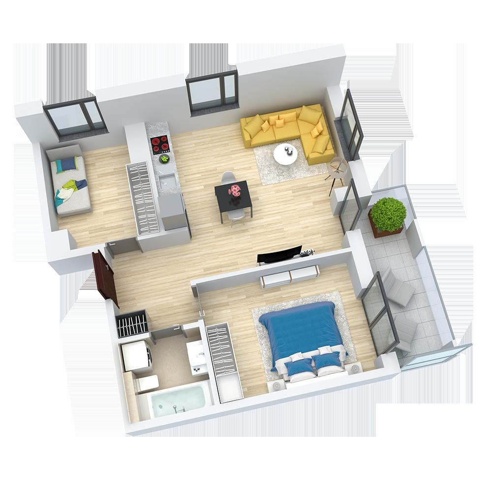 wizualizacja mieszkania numer 47