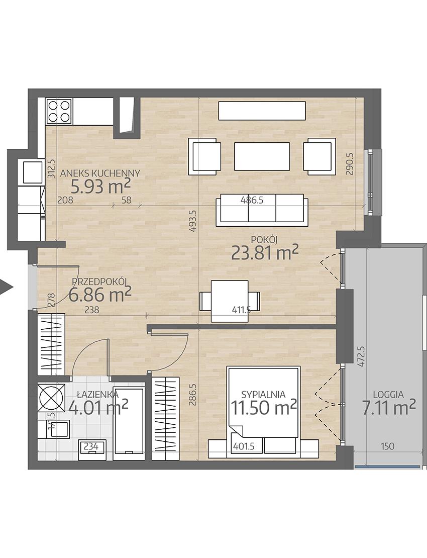 rzut mieszkania numer 49
