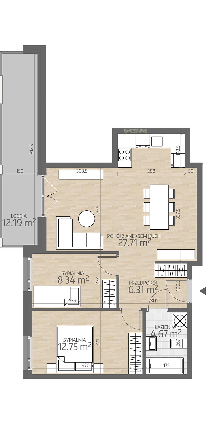 rzut mieszkania numer 53
