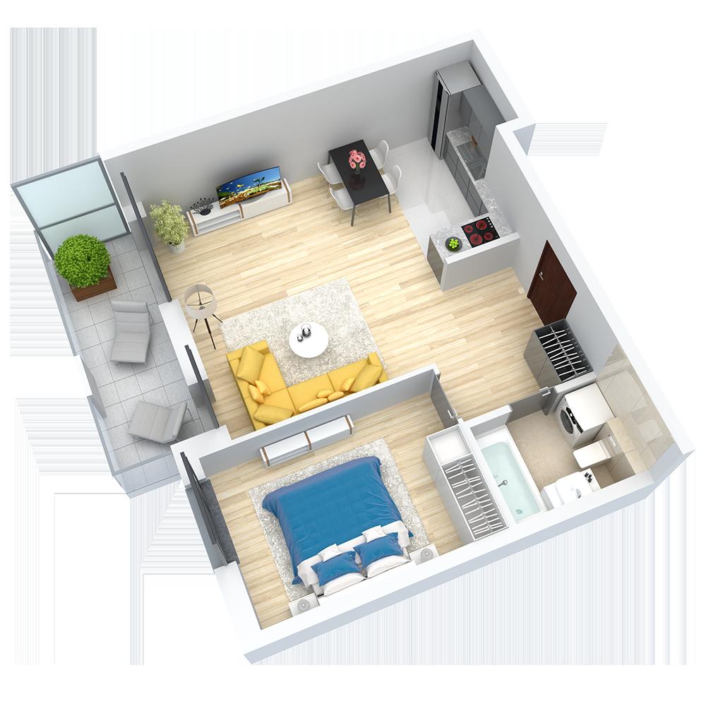 wizualizacja mieszkania numer 54