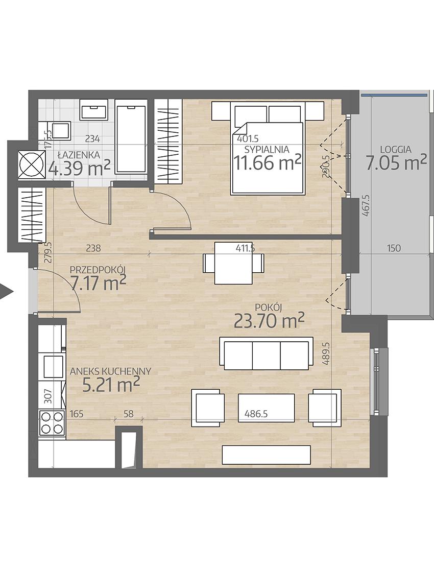 rzut mieszkania numer 57