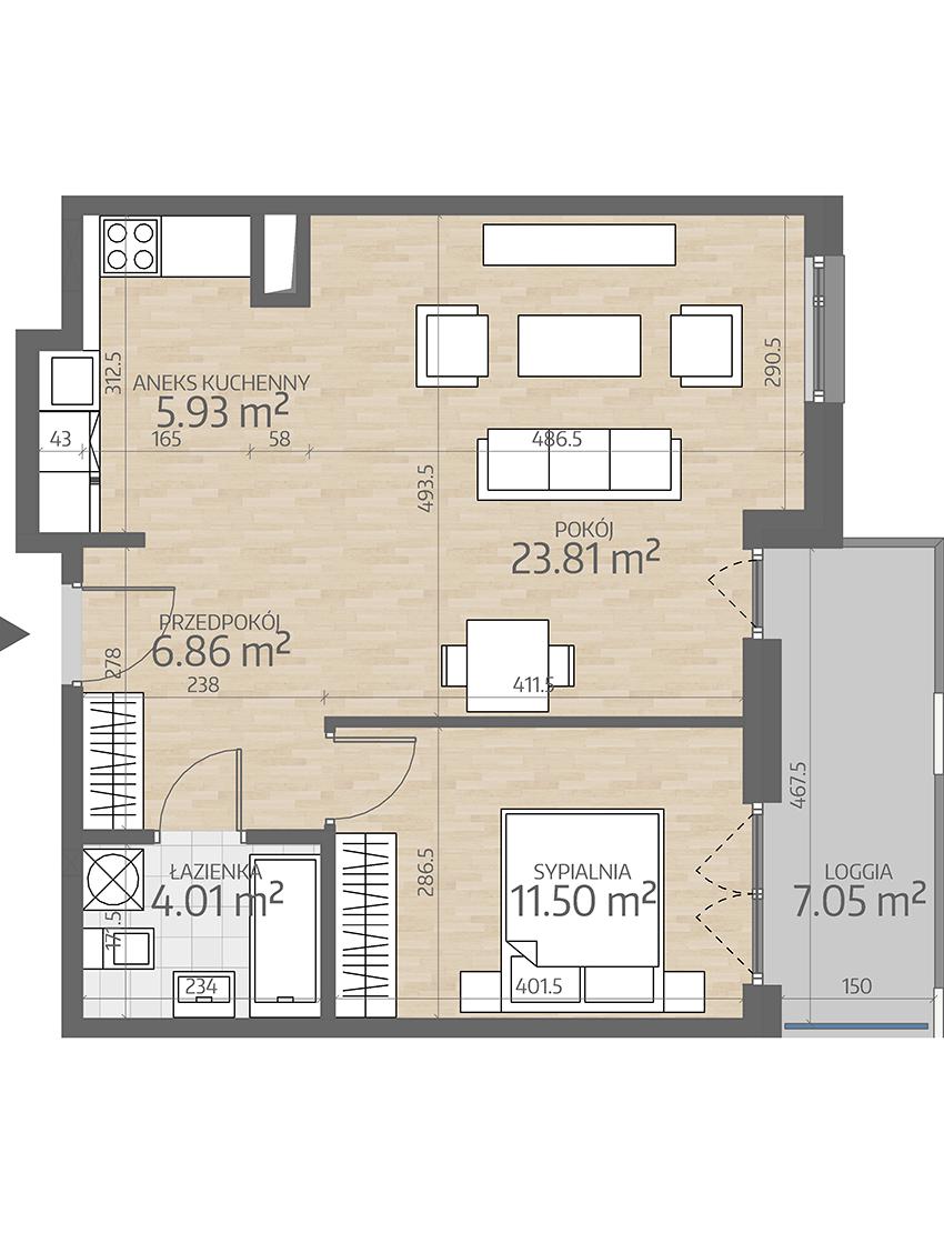 rzut mieszkania numer 58