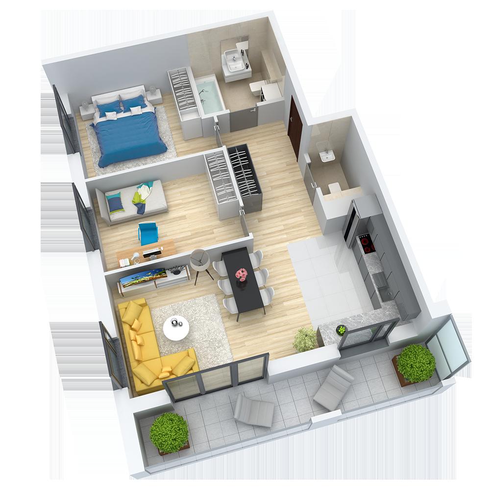 wizualizacja mieszkania numer 61