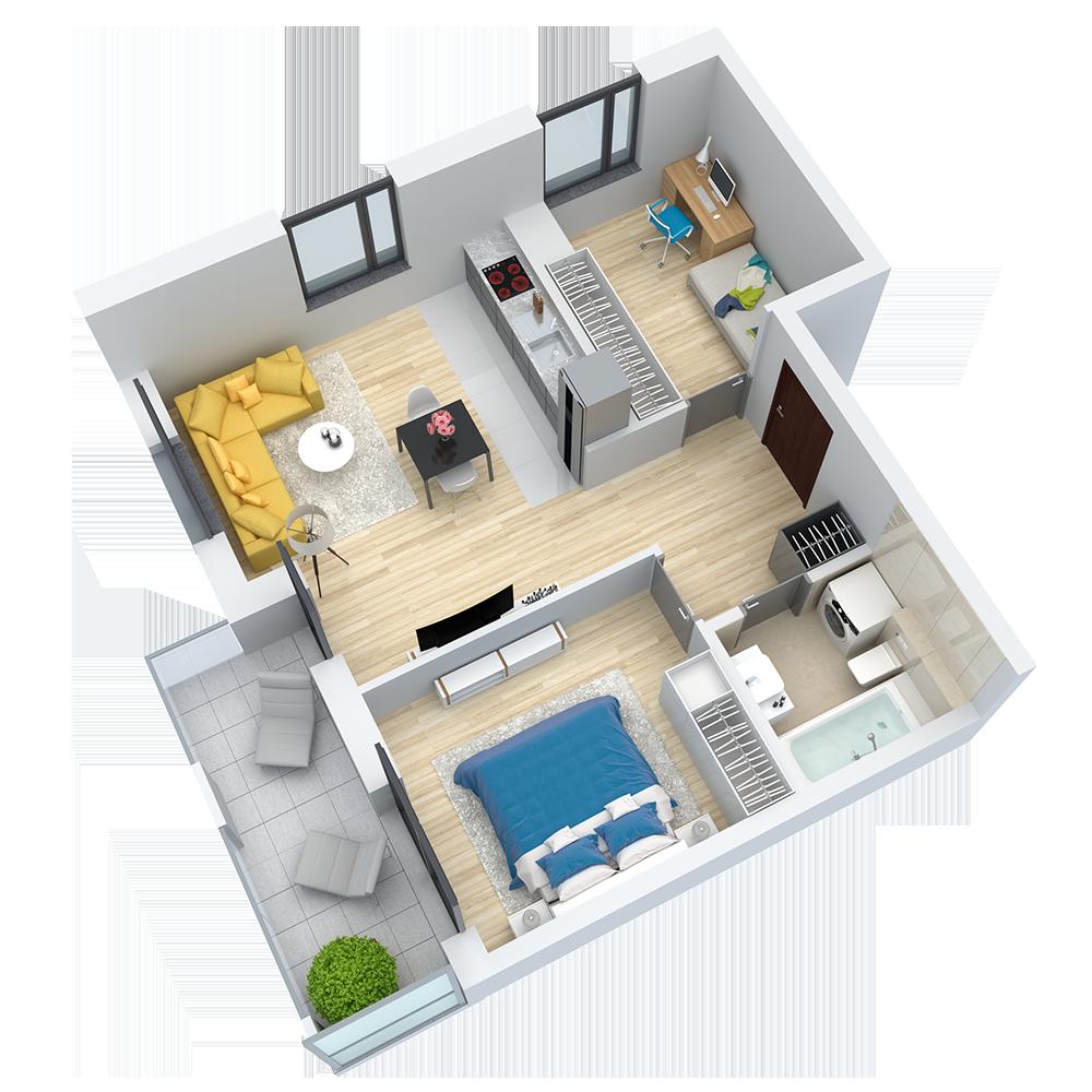 wizualizacja mieszkania numer 64