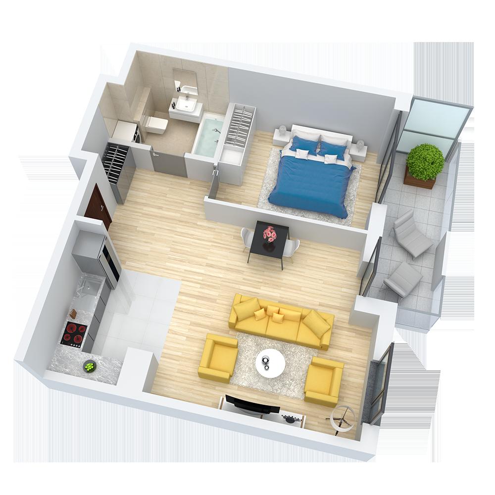 wizualizacja mieszkania numer 66