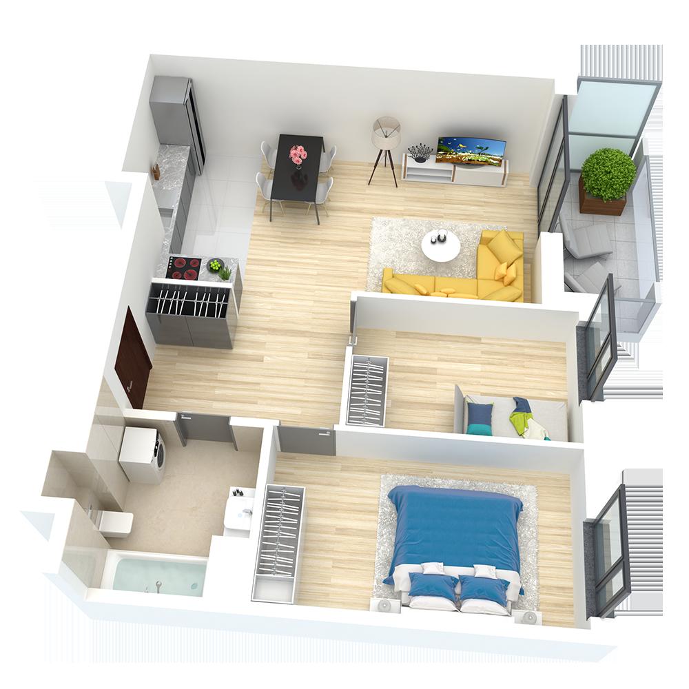 wizualizacja mieszkania numer 68