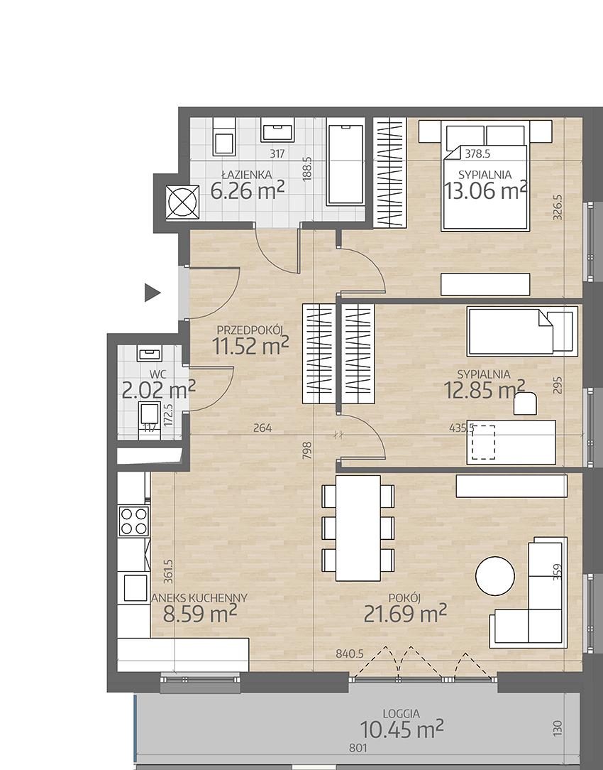 rzut mieszkania numer 69