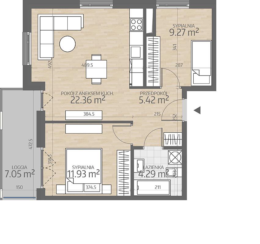 rzut mieszkania numer 73