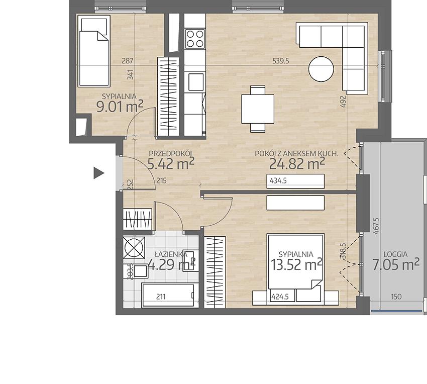 rzut mieszkania numer 74