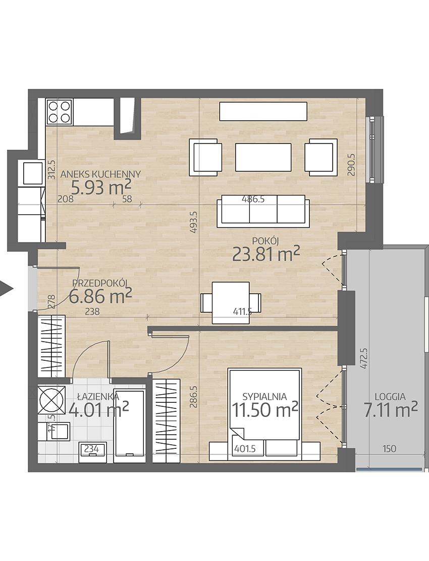 rzut mieszkania numer 76
