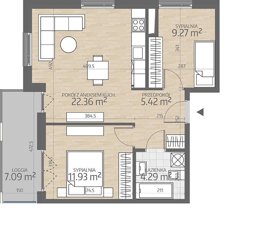 rzut mieszkania numer 82