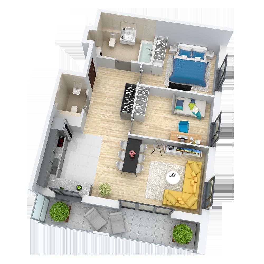 wizualizacja mieszkania numer 87