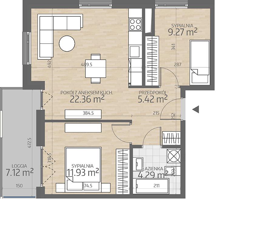 rzut mieszkania numer 91