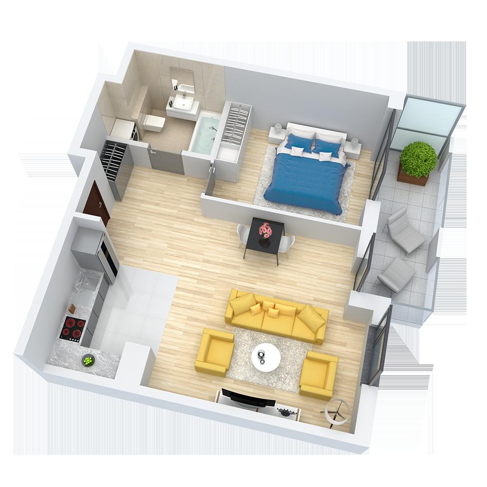 wizualizacja mieszkania numer 93