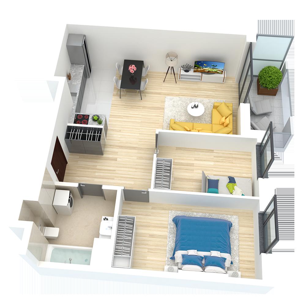 wizualizacja mieszkania numer 95