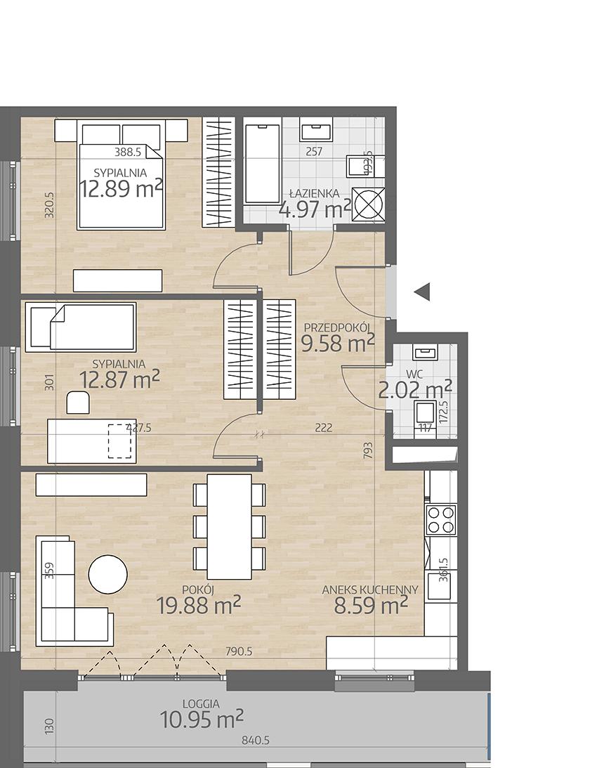 rzut mieszkania numer 97