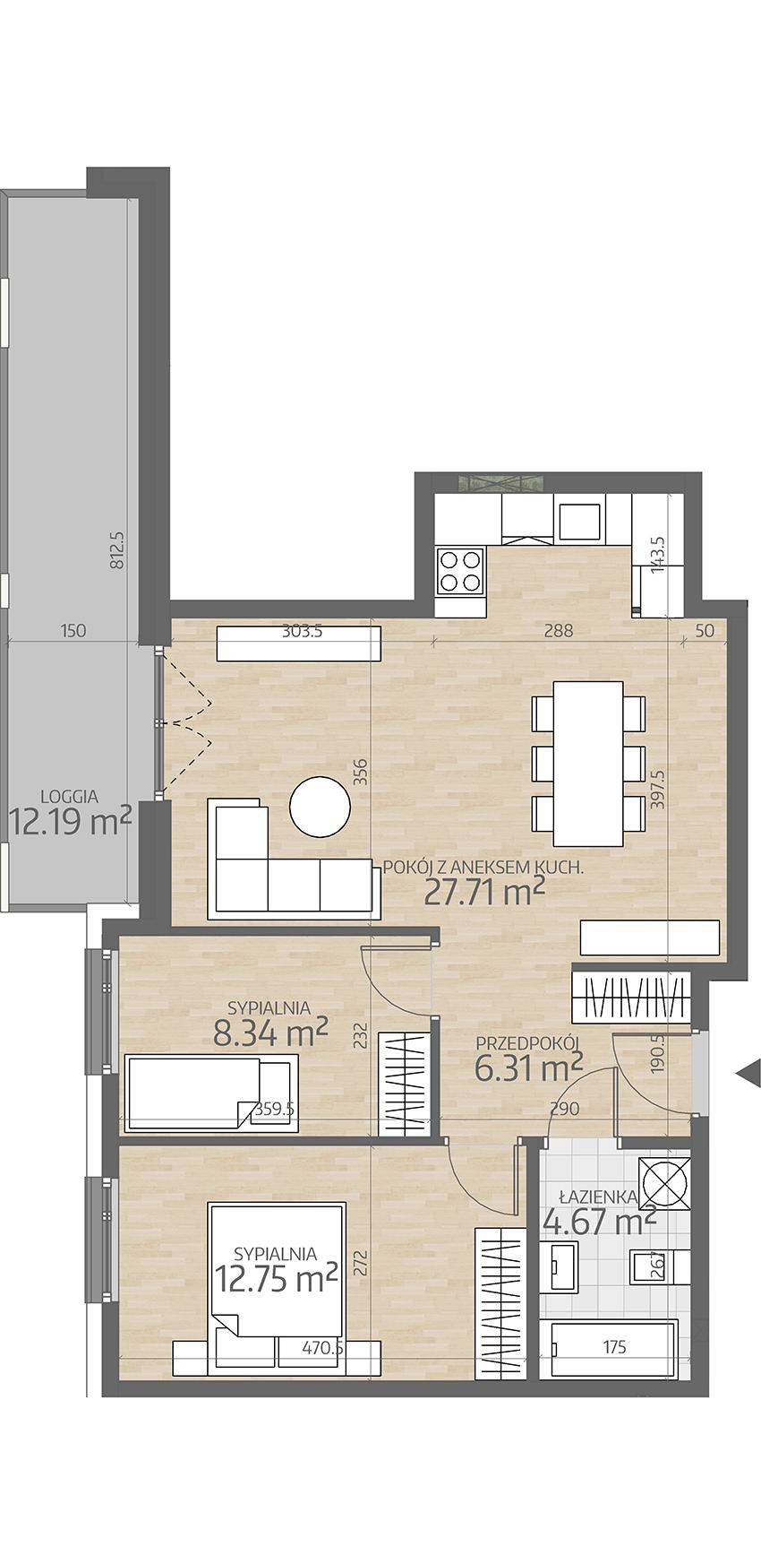 rzut mieszkania numer 98