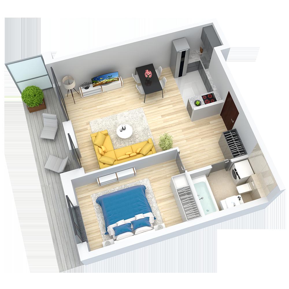 wizualizacja mieszkania numer 1
