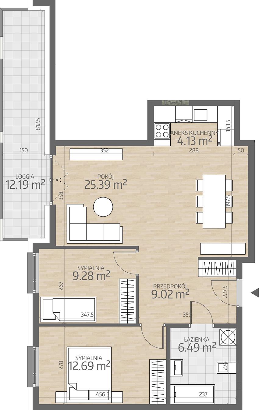 rzut mieszkania numer 9