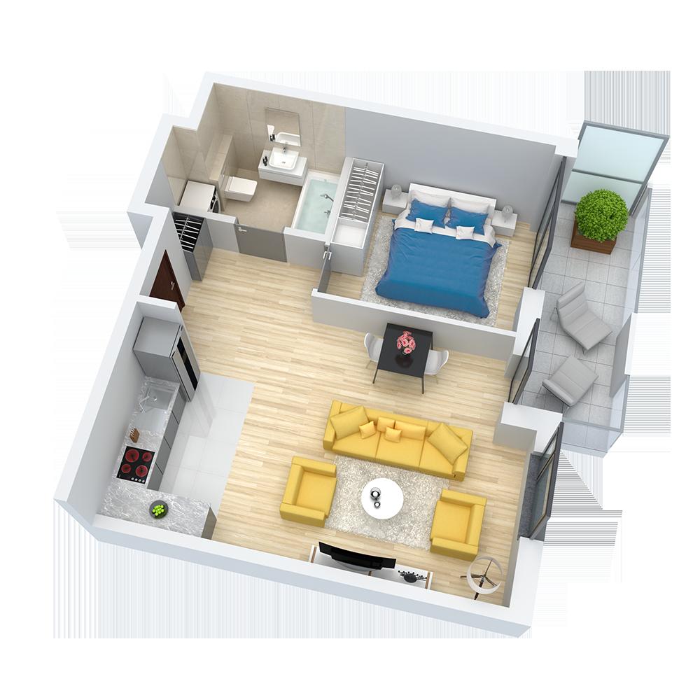 wizualizacja mieszkania numer 13