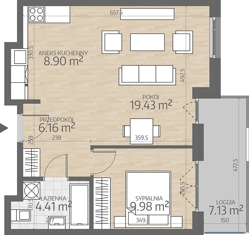 rzut mieszkania numer 14