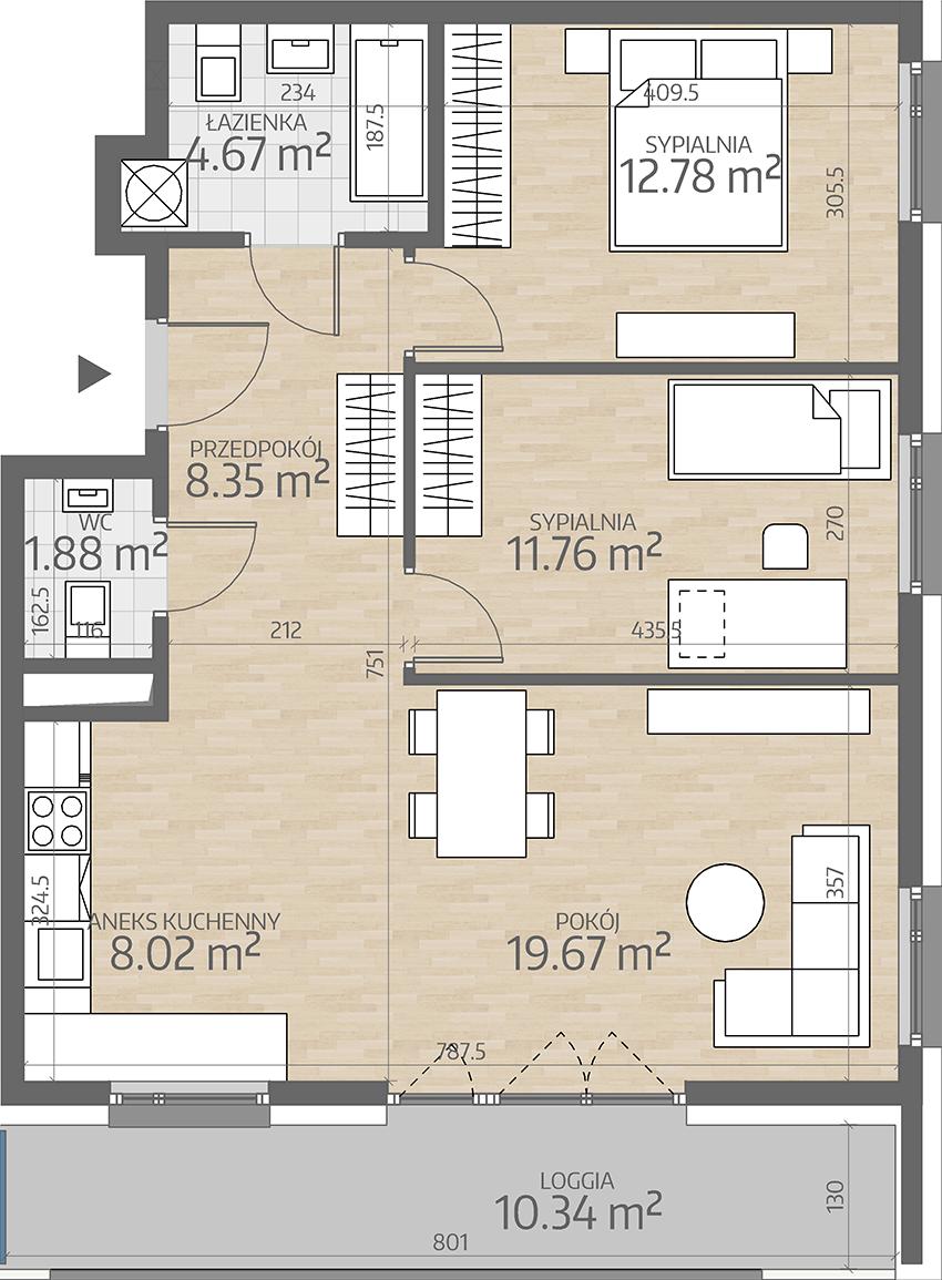 rzut mieszkania numer 16