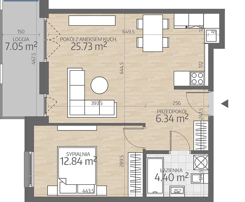 rzut mieszkania numer 19