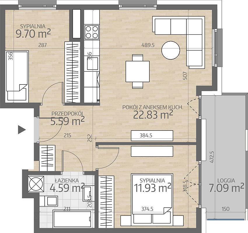 rzut mieszkania numer 21