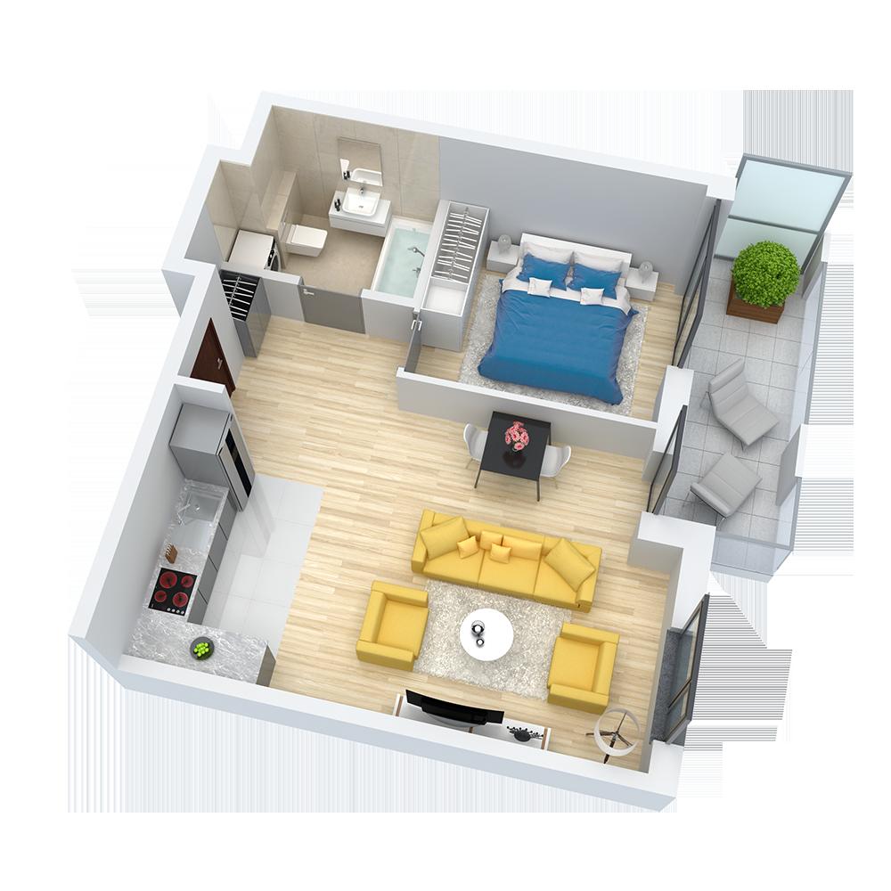 wizualizacja mieszkania numer 22