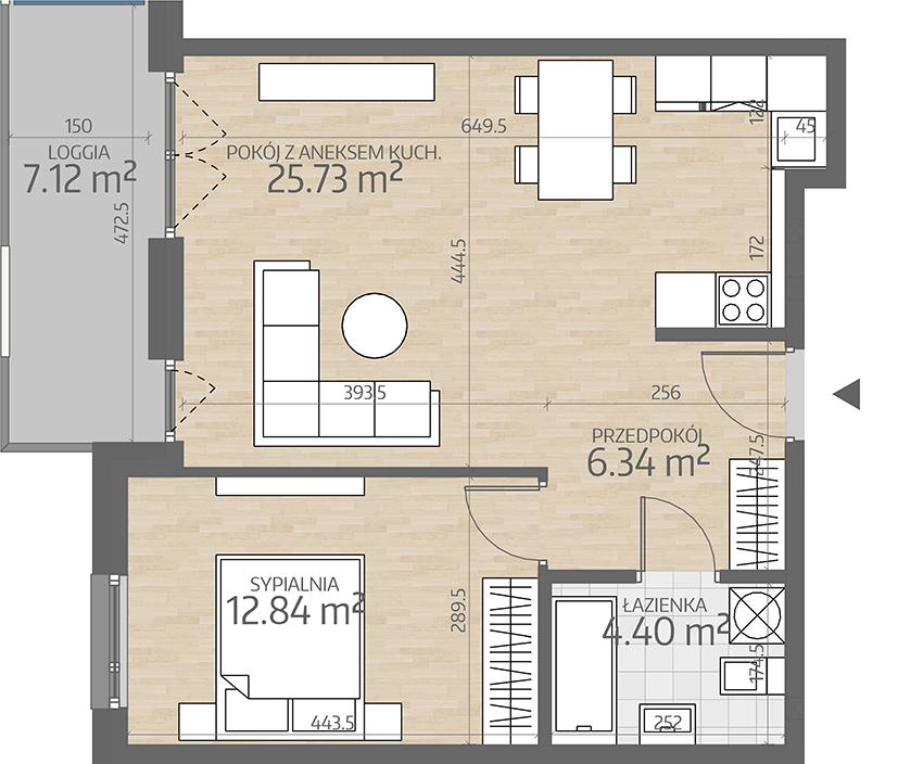 rzut mieszkania numer 37