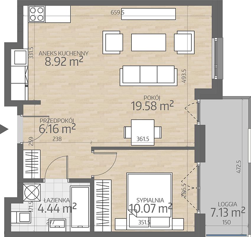 rzut mieszkania numer 41