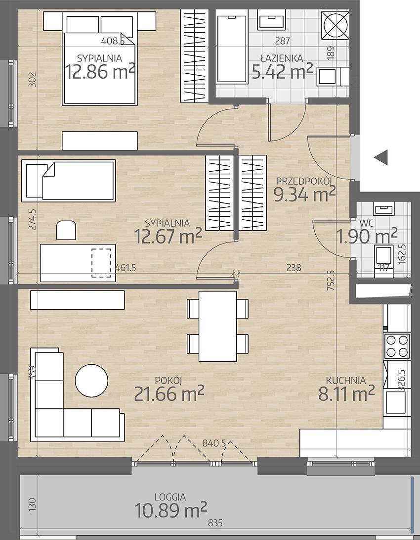 rzut mieszkania numer 44