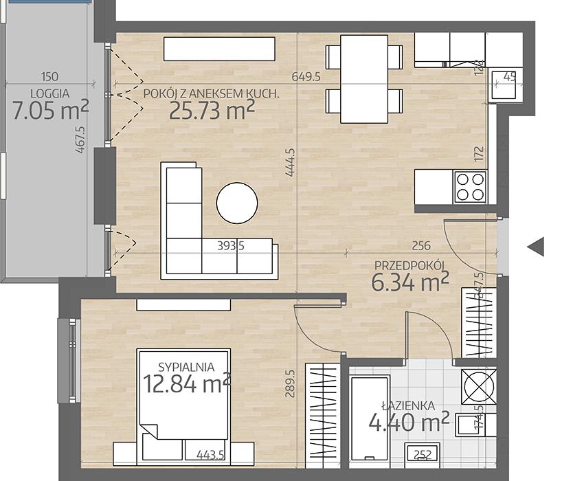 rzut mieszkania numer 46