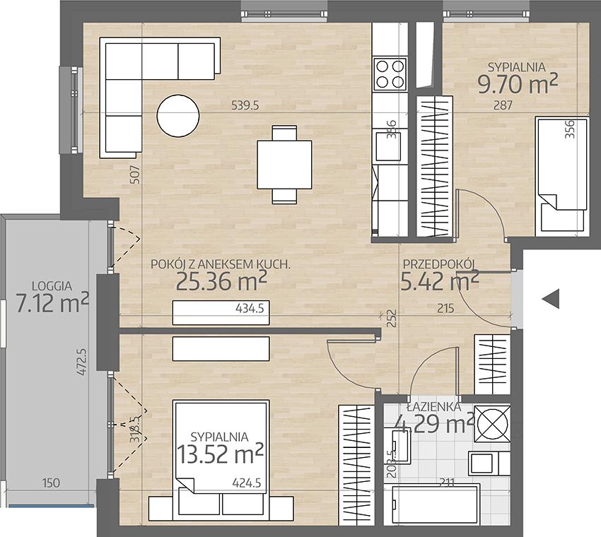 rzut mieszkania numer 47