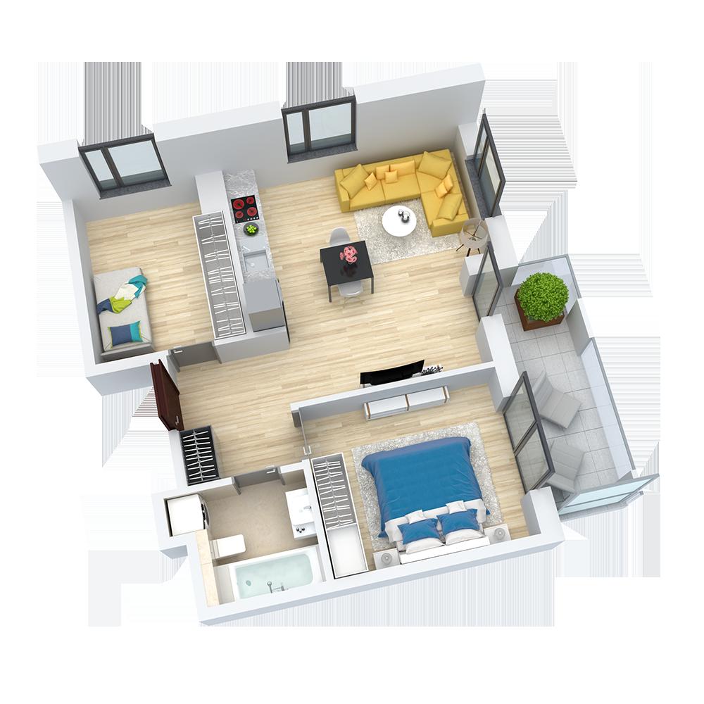 wizualizacja mieszkania numer 48