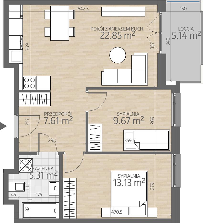 rzut mieszkania numer 51