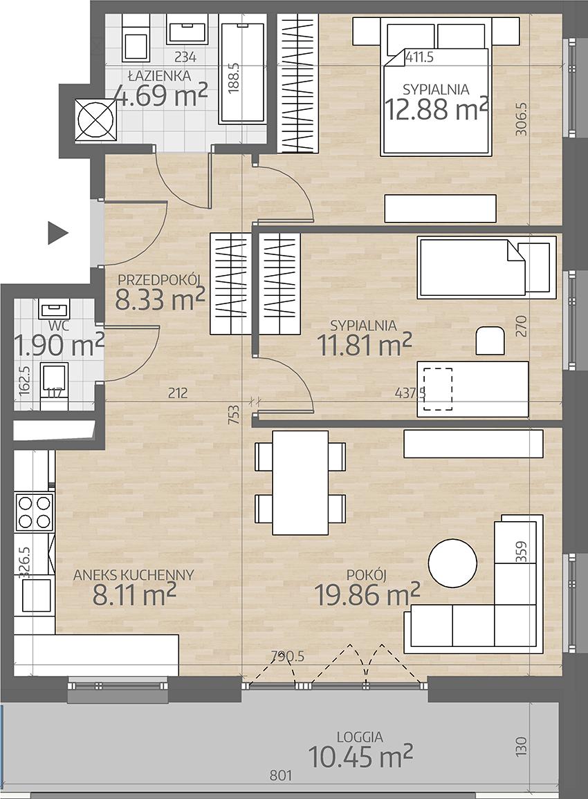 rzut mieszkania numer 52