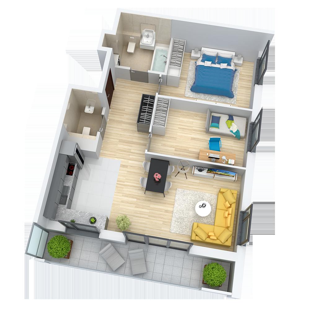 wizualizacja mieszkania numer 52