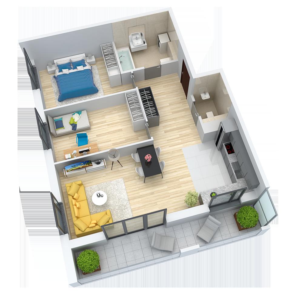 wizualizacja mieszkania numer 53