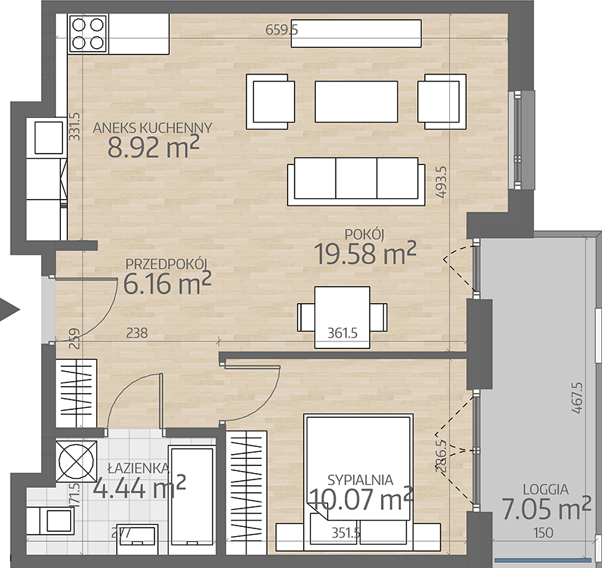 rzut mieszkania numer 59
