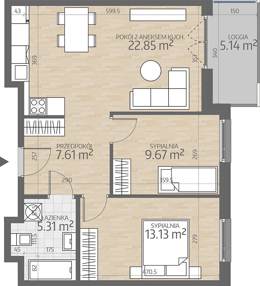 rzut mieszkania numer 60